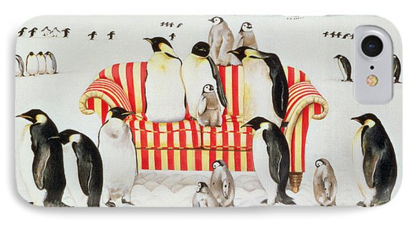 Penguins On A Red And White Sofa  IPhone Case by EB Watts