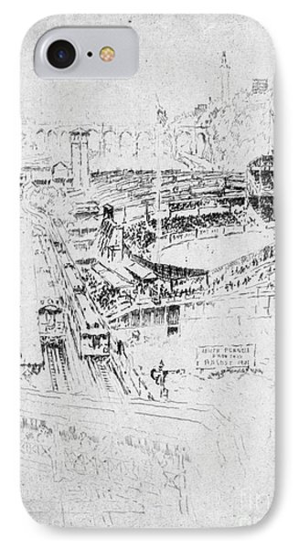 IPhone Case featuring the drawing Pennell Polo Grounds 1921 by Granger