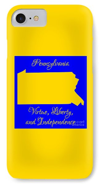 Pennsylvania Map In State Colors Blue And Gold With State Motto Virtue Liberty And Independence Phone Case by Rose Santuci-Sofranko