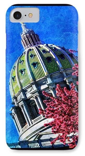 IPhone Case featuring the photograph Pennsylvania State Capitol Dome In Bloom by Shelley Neff