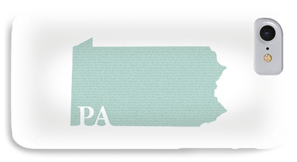 Pennsylvania State Map With Text Of Constitution IPhone Case