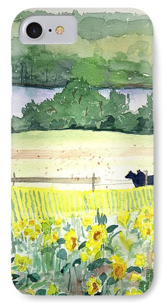 Pennsylvania - Sunflowers By The Lake IPhone Case by Christine Lathrop