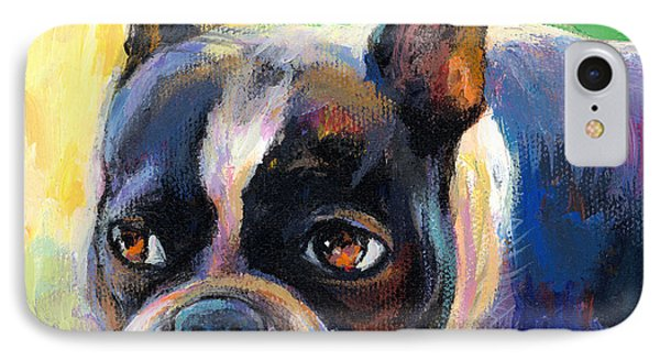 Pensive Boston Terrier Dog Painting IPhone Case by Svetlana Novikova