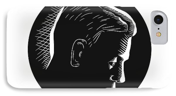 Pensive Man In Deep Thought Circle Woodcut IPhone Case by Aloysius Patrimonio