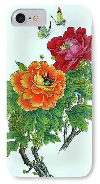 Peonies And Butterflies IPhone Case by Yufeng Wang