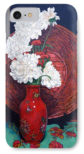 IPhone Case featuring the painting Peonies For Nana by Tom Roderick