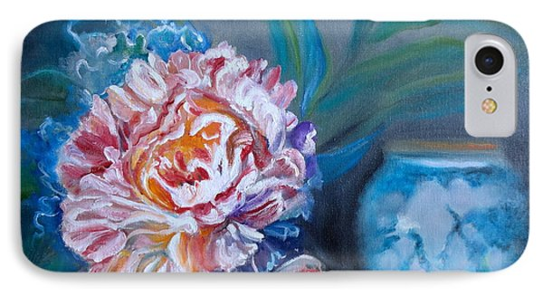 IPhone Case featuring the painting Peony And Chinese Vase by Jenny Lee