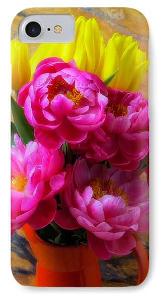 Peony's And Tulips In Pitcher IPhone Case