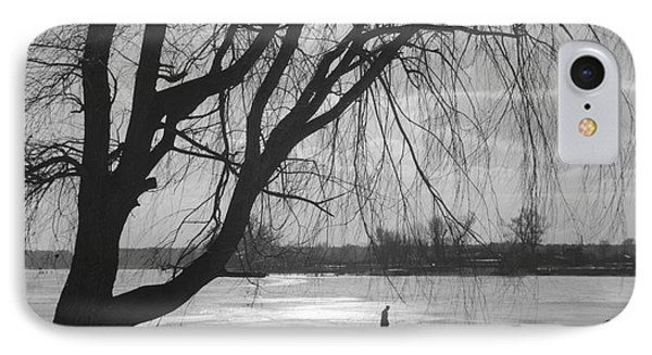 People Ice Skating On A Frozen Over Lake IPhone Case