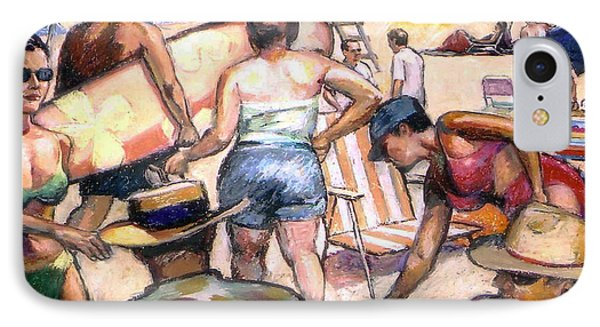 People On The Beach IPhone Case by Stan Esson