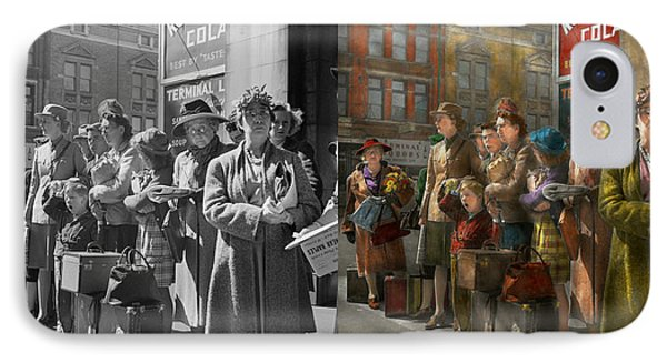 People - People Waiting For The Bus - 1943 - Side By Side IPhone Case