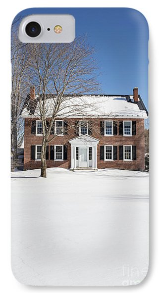 Period Vintage New England Brick House In Winter IPhone Case