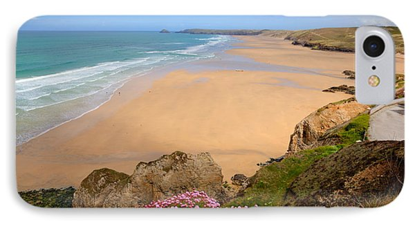 Perranporth Beach North Cornwall England One Of The Best Surfing Beaches In The Uk IPhone Case by Michael Charles