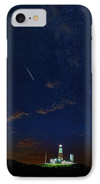 Perseids Over Montauk Point IPhone Case by Rick Berk