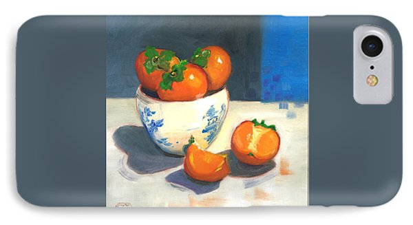 IPhone Case featuring the painting Persimmons by Susan Thomas