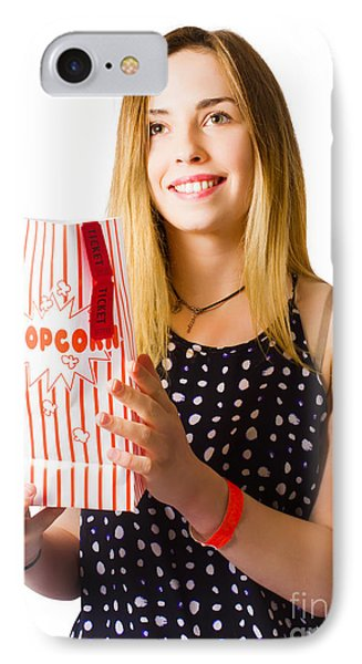 Person At Movie Cinema With Popcorn Bag IPhone Case by Jorgo Photography - Wall Art Gallery