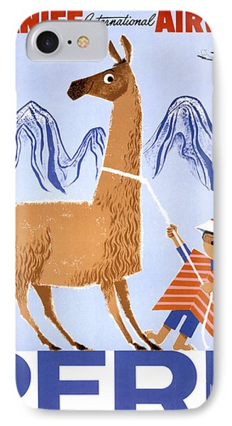 Peru Vintage Travel Poster Restored IPhone Case