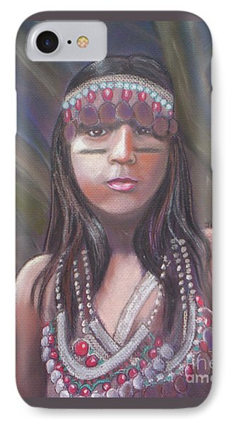 IPhone Case featuring the pastel Peruvian Girl by Julie Brugh Riffey