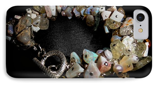 peruvian opal nugget, aquamarine, cultured pearl Bracelet IPhone Case by Karen Matthews