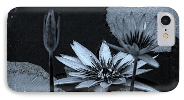 Petals Floating On Water Bw IPhone Case by Ella Kaye Dickey