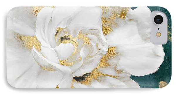 Petals Impasto White And Gold IPhone Case by Mindy Sommers