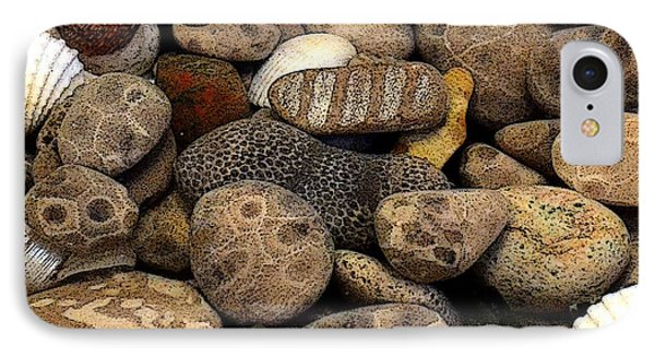 Petoskey Stones With Shells L Phone Case by Michelle Calkins