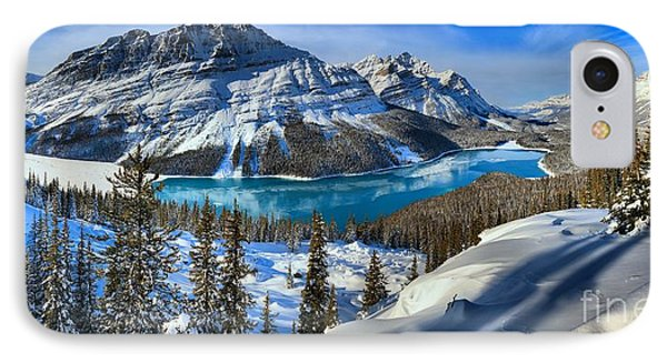 Peyto Lake Winter Panorama IPhone Case by Adam Jewell