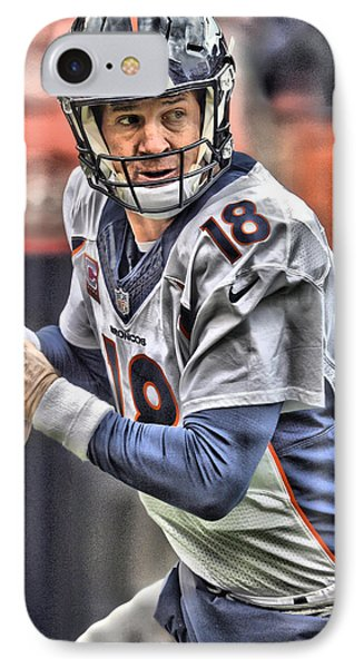 Peyton Manning Art 1 IPhone Case by Joe Hamilton