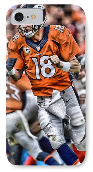 Peyton Manning Art 2 IPhone Case by Joe Hamilton