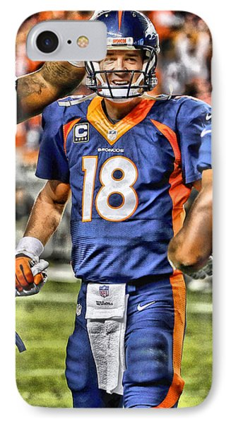 Peyton Manning Art 3 IPhone Case by Joe Hamilton