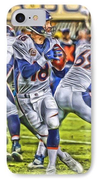 Peyton Manning Broncos Oil Art IPhone Case by Joe Hamilton