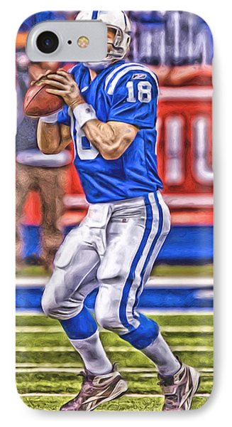 Peyton Manning Colts Oil Art IPhone Case by Joe Hamilton
