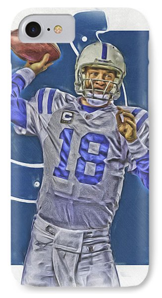 Peyton Manning Indianapolis Colts Oil Art IPhone Case by Joe Hamilton