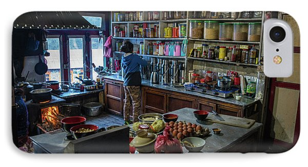 IPhone Case featuring the photograph Phakding Teahouse Kitchen Morning by Mike Reid