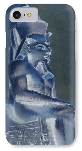 IPhone Case featuring the mixed media Pharaoh In Blue by Elizabeth Lock