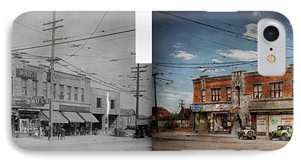 IPhone Case featuring the photograph Pharmacy - The Corner Drugstore 1910 - Side By Side by Mike Savad