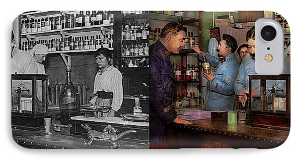 IPhone Case featuring the photograph Pharmacy - The Dispensing Chemist 1918 - Side By Side by Mike Savad