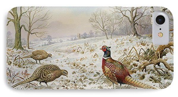 Pheasant And Partridges In A Snowy Landscape IPhone 7 Case by Carl Donner