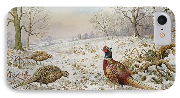 Pheasant And Partridges In A Snowy Landscape IPhone Case by Carl Donner