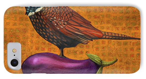 Pheasant On An Eggplant IPhone Case by Leah Saulnier The Painting Maniac