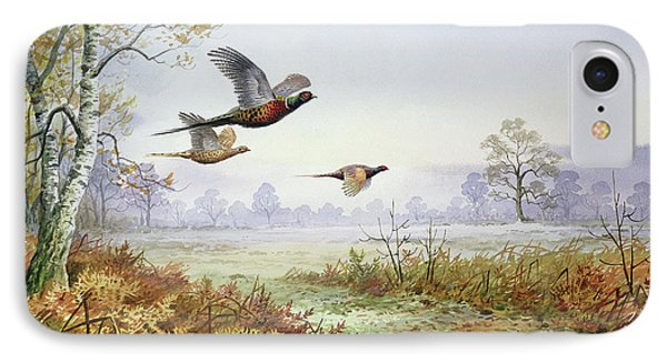 Pheasants In Flight  IPhone 7 Case by Carl Donner