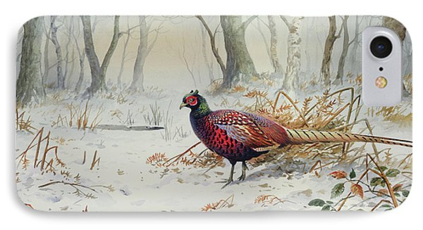 Pheasants In Snow IPhone Case by Carl Donner