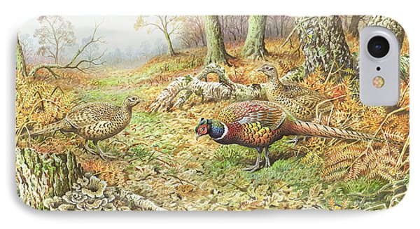 Pheasants With Blue Tits IPhone Case by Carl Donner