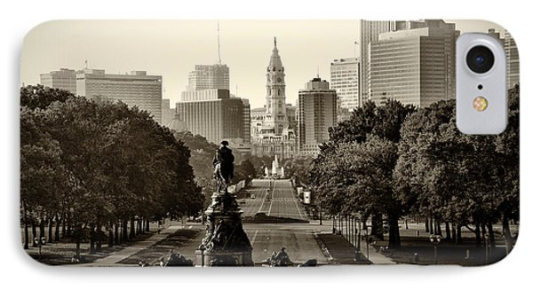 Philadelphia Benjamin Franklin Parkway In Sepia IPhone 7 Case