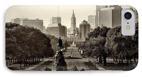 Philadelphia Benjamin Franklin Parkway In Sepia IPhone 7 Case by Bill Cannon