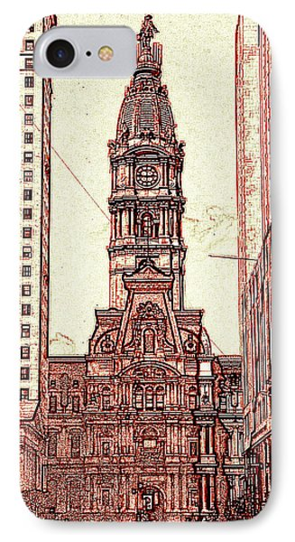 Philadelphia City Hall - Pencil IPhone Case by Art America Gallery Peter Potter