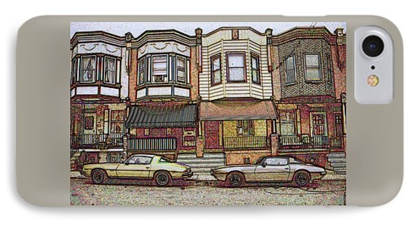 Philadelphia Homes - Color Pencil IPhone Case by Art America Gallery Peter Potter