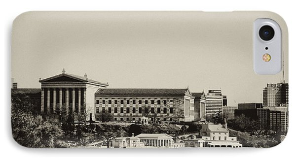 Philadelphia Museum Of Art And The Fairmount Waterworks From West River Drive In Black And White Phone Case by Bill Cannon