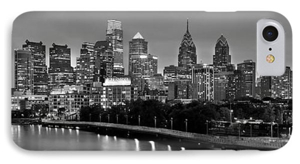 IPhone Case featuring the photograph Philadelphia Philly Skyline At Dusk From Near South Bw Black And White Panorama by Jon Holiday