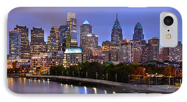 IPhone Case featuring the photograph Philadelphia Philly Skyline At Dusk From Near South Color Panorama by Jon Holiday